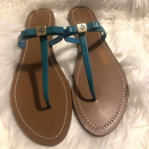 Tory Burch bow turquoise sandals 10